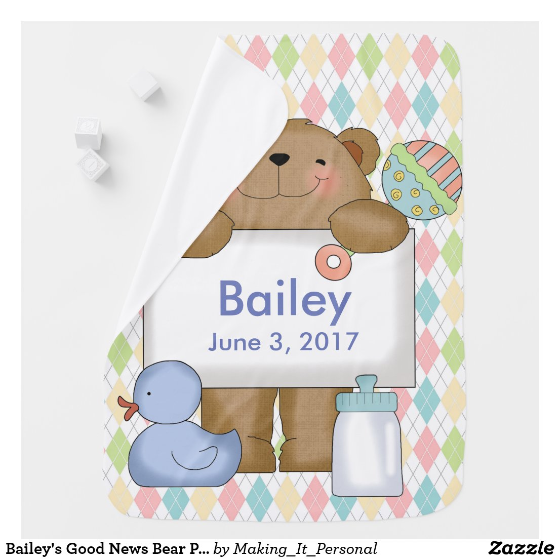 Bailey's Good News Bear Personalized Gifts Baby Blanket
