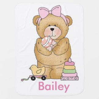Bailey's Teddy Bear Personalized Gifts Stroller Blanket