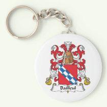 Bailleul Family Crest Keychain