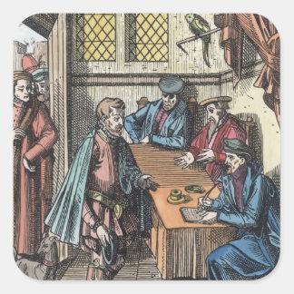 Bailliage, o tribunal de Bailiff del rey, afte Pegatina Cuadrada