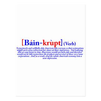 Bain-krupt (verb) postcard