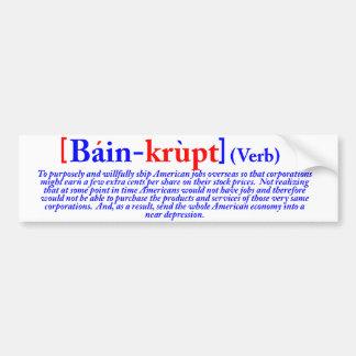 Bain-krupt (verbo) pegatina para auto