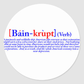 Bain-krupt (verbo) pegatina redonda