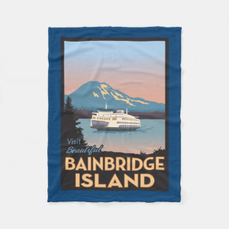 Bainbridge Island Retro-styled Poster Art Fleece Blanket