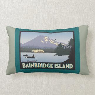 Bainbridge Island Retro-styled Poster Art Lumbar Pillow