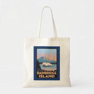 Bainbridge Island Retro-styled Poster Art Tote Budget Tote Bag