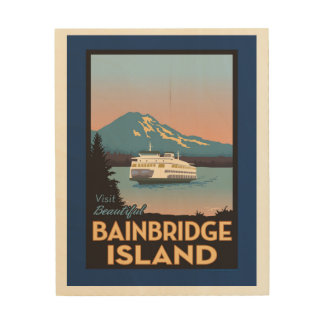 Bainbridge Island Retro-styled Poster Art Wood Print