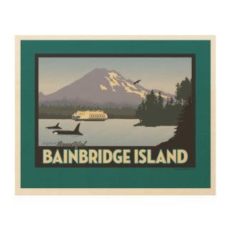 Bainbridge Island Retro-styled Poster Art Wood Wall Art