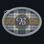 "Baird Dress Tartan And Monogram Oval Belt Buckle<br><div class=""desc"">One of the Scottish Dress tartans for the Baird Scottish Clan with a customizable Monogrammed Initial set in the center of a Celtic knot decoration. The Baird Dress tartan is traditionally used to identify members of the Baird Clan. If you would like another tartan not shown here, please feel to...</div>"