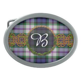 Baird Dress Tartan And Monogram Oval Belt Buckle