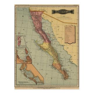 Baja California Antique Map Postcard