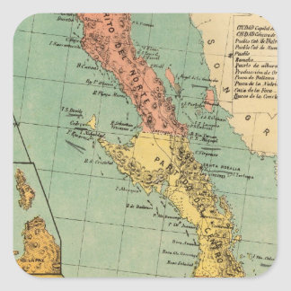 Baja California México Calcomanias Cuadradas