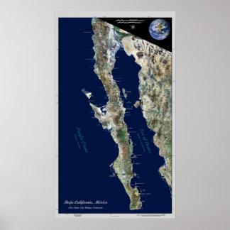 Baja California México poster por satélite
