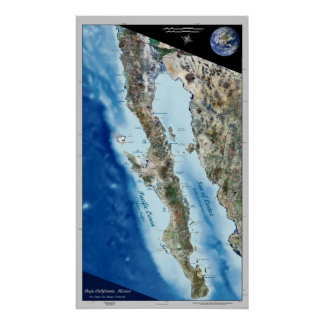 Baja California, Mexico satellite poster