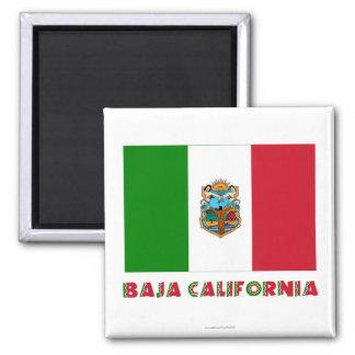 Baja California Unofficial Flag 2 Inch Square Magnet