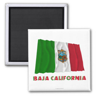 Baja California Waving Unofficial Flag 2 Inch Square Magnet