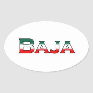 Baja México logotipo del texto Calcomanía De Óval Personalizadas