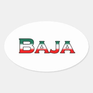 Baja México (logotipo del texto) Pegatina Ovalada