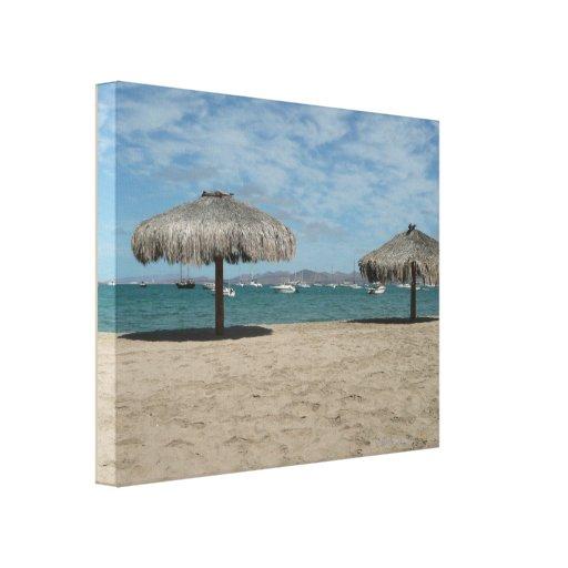 Baja Palapas Huts and Boats Beach Scene Canvas Print