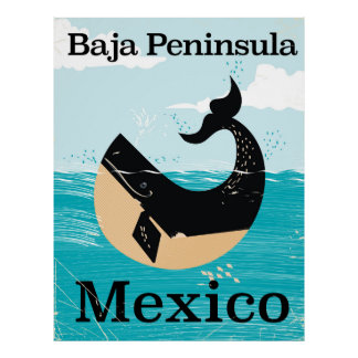 baja peninsula Mexico travel poster