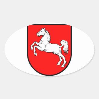 Baja Sajonia escudo de armas Pegatina Ovalada
