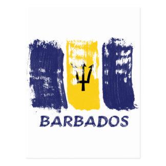 Bajan Flag brush design Postcard