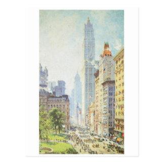 Baje Broadway en tiempo de guerra circa 1917 Postal