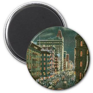 Baje Broadway por noche, Nueva York Imán Redondo 5 Cm