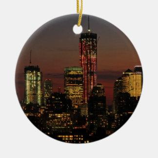 Baje el horizonte de NYC: World Trade Center en Ornamentos Para Reyes Magos