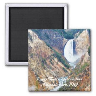 Baje las caídas, parque de Yellowstone, WY Imán Cuadrado