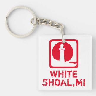 Bajío blanco Michigan Llavero Cuadrado Acrílico A Doble Cara