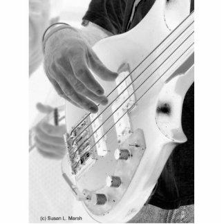 Bajista, bajo y mano, imagen negativa esculturas fotograficas