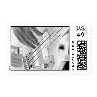 Bajista, bajo y mano, imagen negativa sello