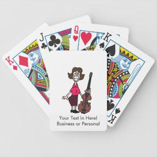 bajista de sexo femenino del dibujo animado torpe cartas de juego