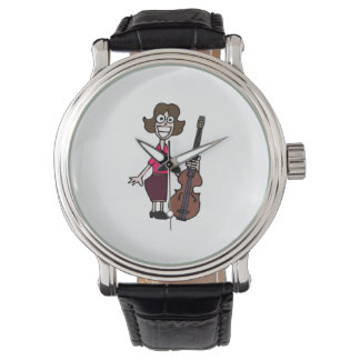 bajista de sexo femenino del dibujo animado torpe reloj de mano