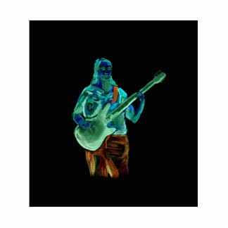 Bajista, hecho en los colores de neón en la parte  escultura fotográfica