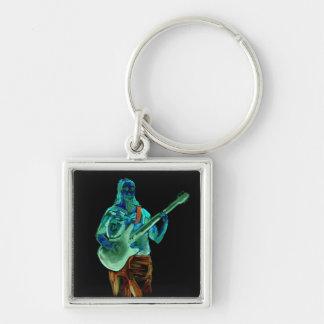 Bajista, hecho en los colores de neón en la parte  llavero cuadrado plateado