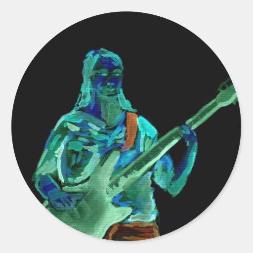 Bajista, hecho en los colores de neón en la parte etiqueta redonda
