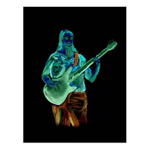 Bajista, hecho en los colores de neón en la parte postales