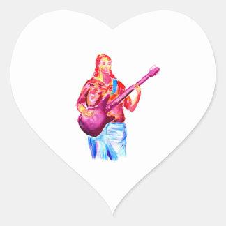 Bajista, pintura colorida del watercolour calcomanía corazón