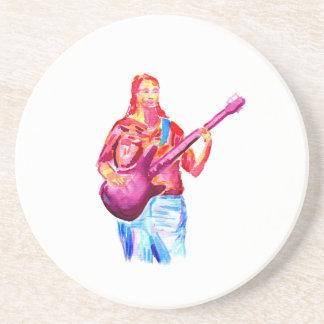Bajista, pintura colorida del watercolour posavaso para bebida