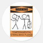 Bajista temperamental amonestador de secuencia pegatina redonda