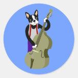 Bajista vertical de Boston Terrier Etiquetas Redondas
