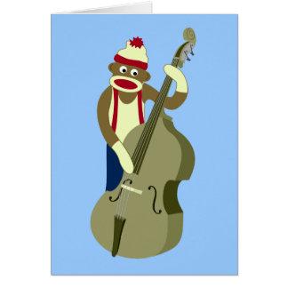 Bajista vertical del mono del calcetín tarjeta de felicitación