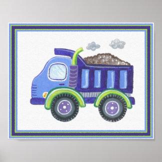 Bajo arte de la pared del bebé del camión volquete póster