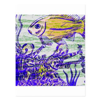 Bajo aventura del agua tarjeta postal