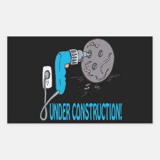 Bajo construcción rectangular pegatinas