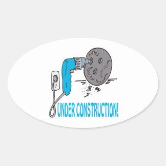 Bajo construcción calcomanías ovales personalizadas