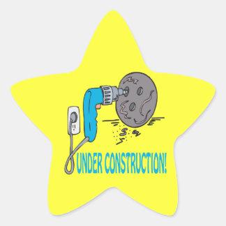 Bajo construcción calcomanías forma de estrellaes personalizadas