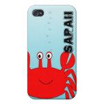 Bajo cubierta feliz del iPhone del cangrejo del ma iPhone 4/4S Carcasa